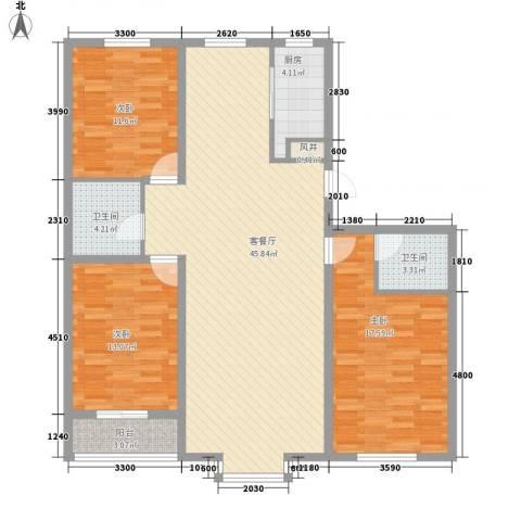 御品星城3室1厅2卫1厨135.00㎡户型图