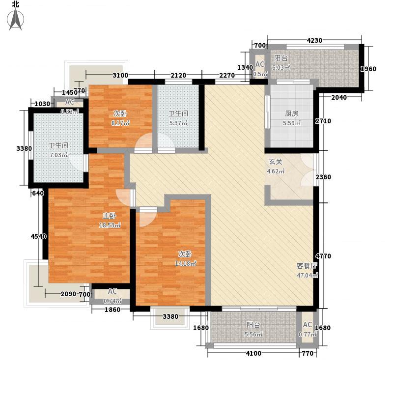 倚能黄河家园156.00㎡二期户型1户型3室2厅2卫1厨