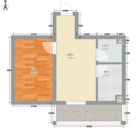 亿达帝景1室1厅1卫1厨52.00㎡户型图