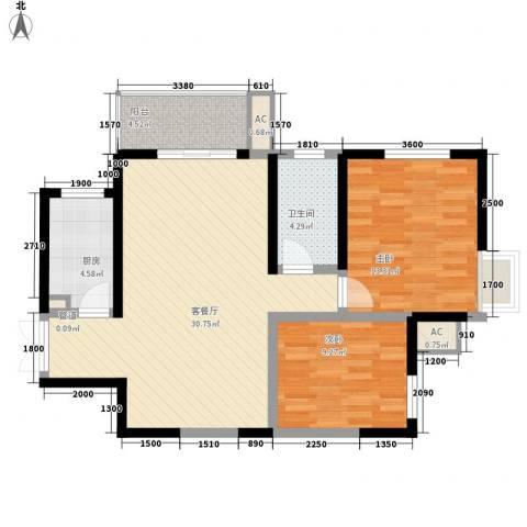 世融嘉城2室1厅1卫1厨95.00㎡户型图