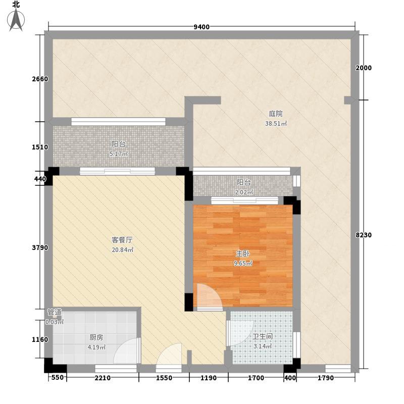 天籁谷国际度假区57.80㎡一期MINI别墅B2二层三层四层2号楼户型1室1厅1卫1厨