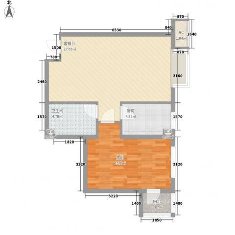炫彩SOHO1室1厅1卫1厨77.00㎡户型图