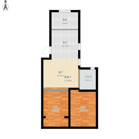 春港丽园2室1厅1卫1厨88.00㎡户型图
