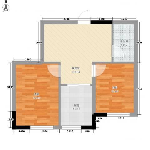 标点2室1厅1卫1厨65.00㎡户型图