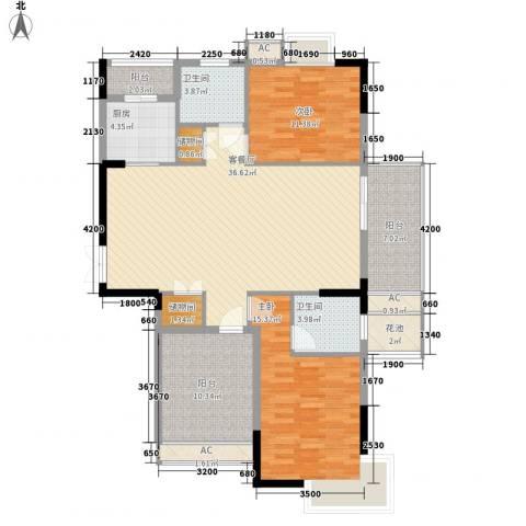 万花冲壹号2室1厅2卫1厨145.00㎡户型图