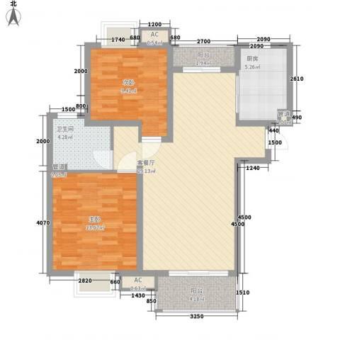 共富富都园2室1厅1卫1厨99.00㎡户型图
