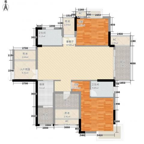 万花冲壹号2室1厅2卫1厨163.00㎡户型图