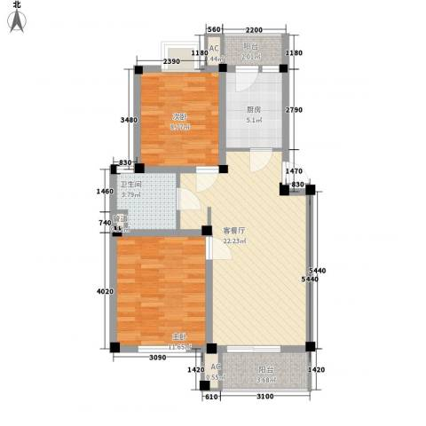 行知家园2室1厅1卫1厨85.00㎡户型图