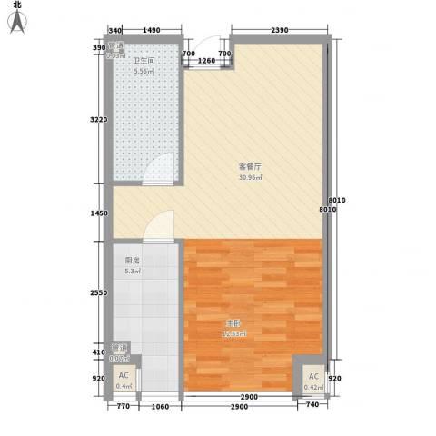 炫彩SOHO1厅1卫1厨60.00㎡户型图