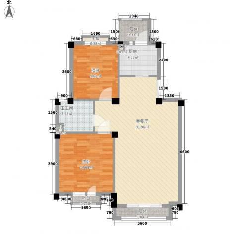康桥小镇2室1厅1卫1厨85.00㎡户型图