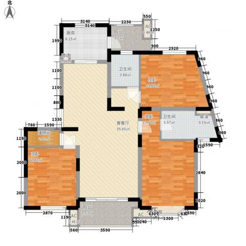 行知家园3室1厅2卫1厨155.00㎡户型图