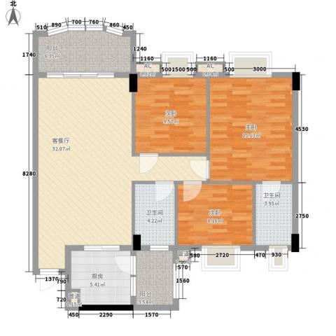 丽雅苑3室1厅2卫1厨125.00㎡户型图