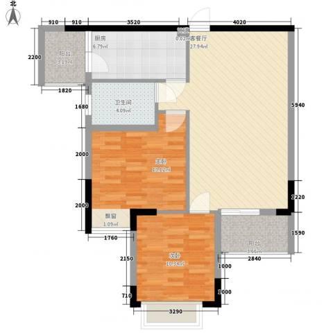 睿力上城2室1厅1卫1厨90.00㎡户型图