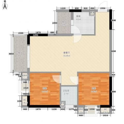 长银东郡2室1厅1卫1厨83.00㎡户型图
