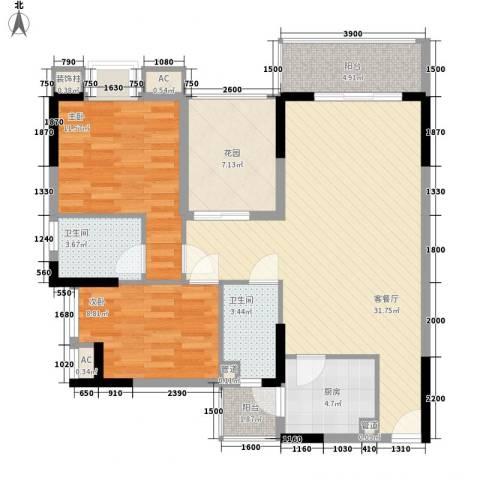 长银东郡2室1厅2卫1厨93.00㎡户型图