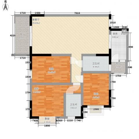 睿力上城3室1厅2卫1厨114.00㎡户型图