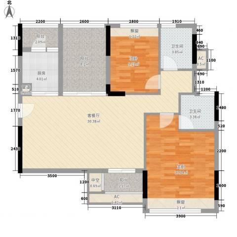 金地格林上院三期2室1厅2卫1厨95.00㎡户型图