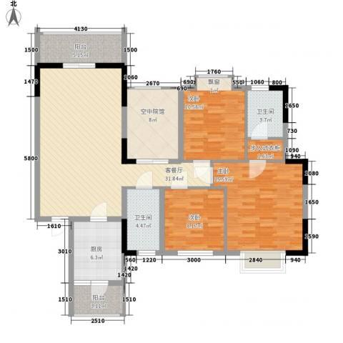 睿力上城3室1厅2卫1厨126.00㎡户型图