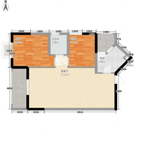 睿力上城2室1厅1卫1厨85.00㎡户型图