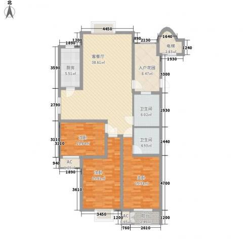 西岸3室1厅2卫1厨162.00㎡户型图