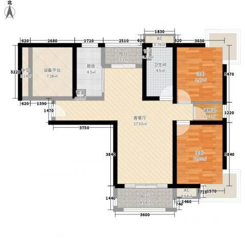 绿岛江湾城2室1厅1卫1厨110.00㎡户型图