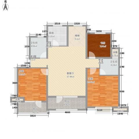银亿格兰郡3室1厅2卫1厨142.00㎡户型图
