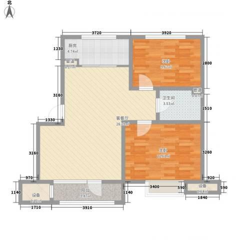银亿格兰郡2室1厅1卫1厨80.00㎡户型图