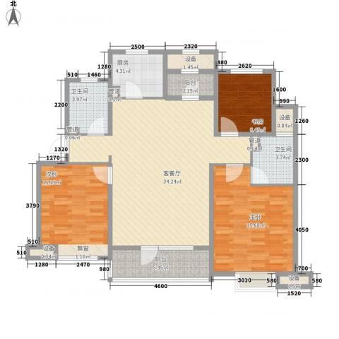 银亿格兰郡3室1厅2卫1厨130.00㎡户型图