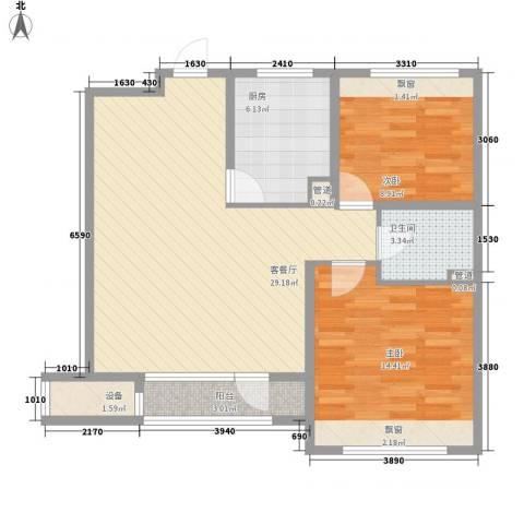 银亿格兰郡2室1厅1卫1厨94.00㎡户型图