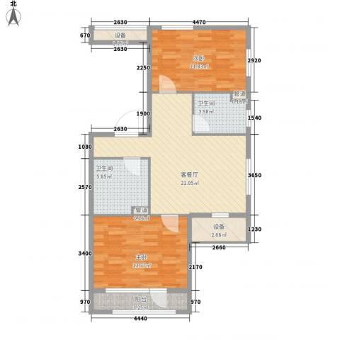 银亿格兰郡2室1厅2卫0厨89.00㎡户型图