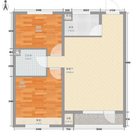 银亿格兰郡2室1厅1卫1厨77.00㎡户型图