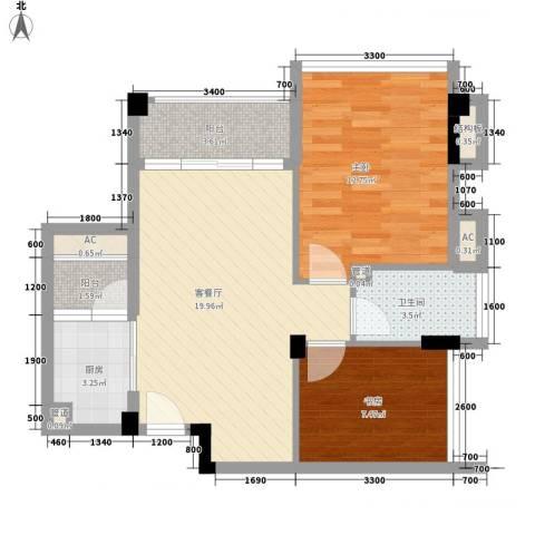 鼎峰品筑二期2室1厅1卫1厨64.00㎡户型图