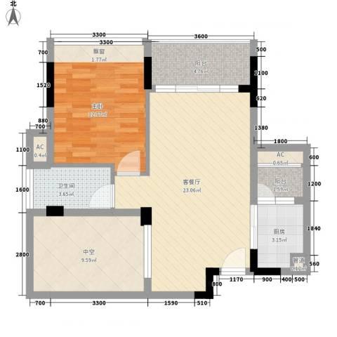 鼎峰品筑二期1室1厅1卫1厨62.00㎡户型图