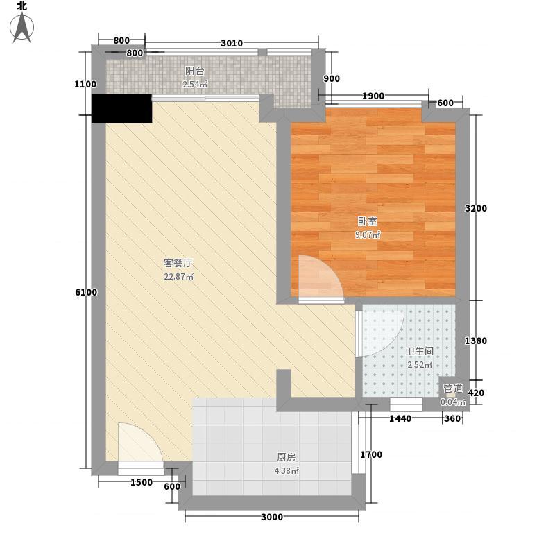 尚城国际54.68㎡D户型1室1厅1卫