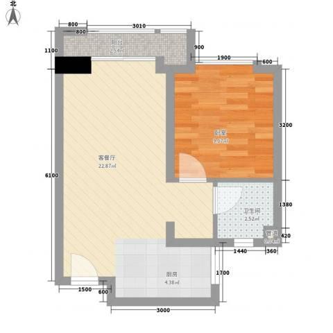 尚城国际1厅1卫0厨55.00㎡户型图