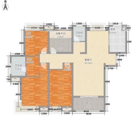 海亮九玺3室1厅2卫1厨186.00㎡户型图