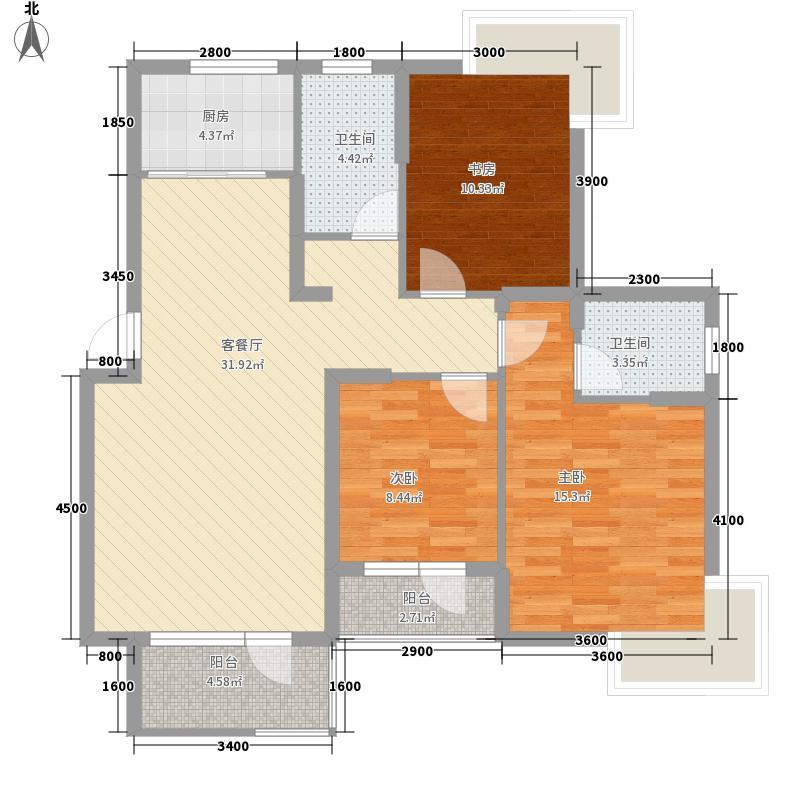 建盛福海城115.57㎡6#C户型3室2厅2卫1厨