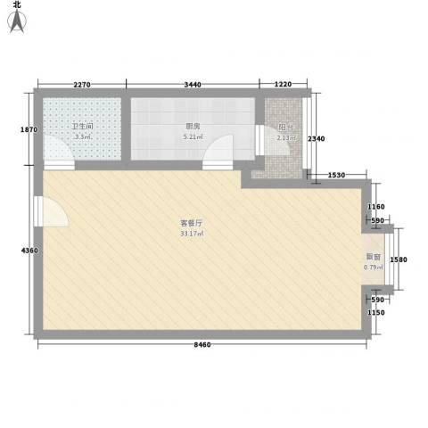 鼎峰新立方1厅1卫1厨63.00㎡户型图