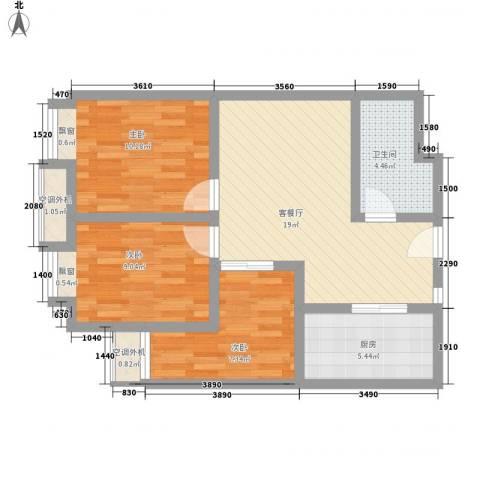 鼎峰新立方3室1厅1卫1厨82.00㎡户型图