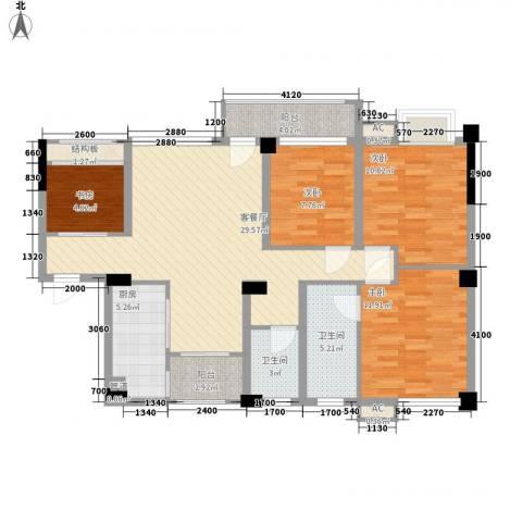 南晶国际南庭4室1厅2卫1厨97.00㎡户型图