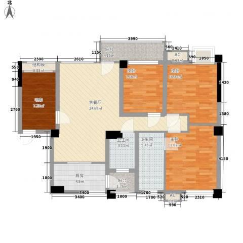 南晶国际南庭4室1厅2卫1厨91.00㎡户型图