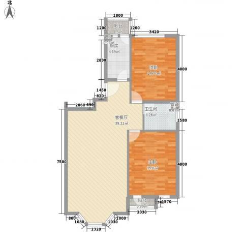 四季香山别墅2室1厅1卫1厨103.00㎡户型图