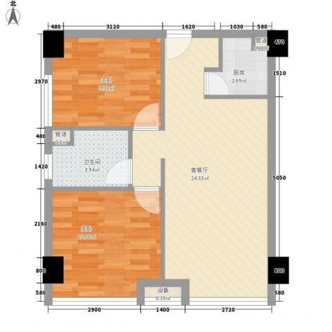 雅戈尔东湖花园2室1厅1卫1厨74.00㎡户型图
