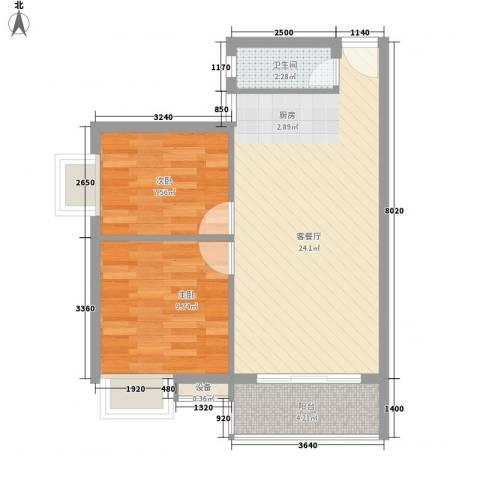 汇星苑2室1厅1卫0厨68.00㎡户型图