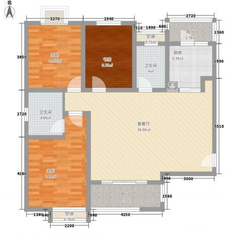 天亚水景城3室1厅2卫1厨138.00㎡户型图