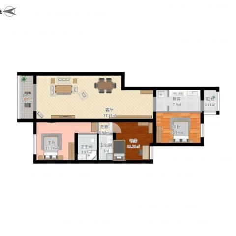 龙锦苑东五区3室1厅2卫1厨139.00㎡户型图