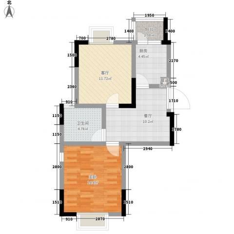 西郡188花园1室2厅1卫1厨70.00㎡户型图