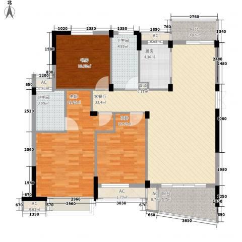金域兰庭3室1厅2卫1厨141.00㎡户型图