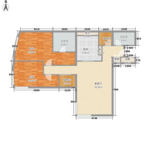 新地国际公寓苏寓2室1厅2卫1厨149.00㎡户型图