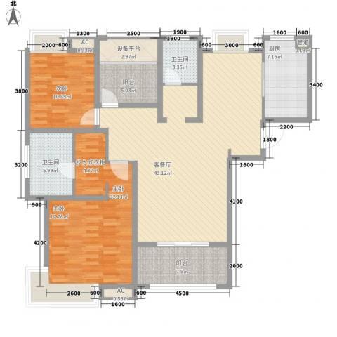 海亮九玺2室1厅2卫1厨156.00㎡户型图